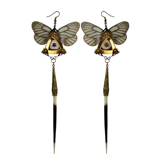 Long Dangle Butterfly Earrings - Steampunk Fairy Jewelry - 24K Gold Plated - With Real Butterflies Wings and Porcupine Quills