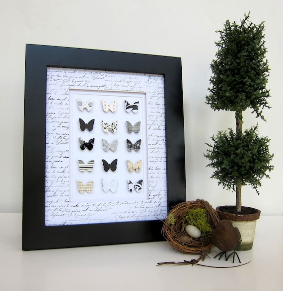 RESERVED French Shabby Chic Black and White Paper Butterfly Collection Home Decor Cottage Chic