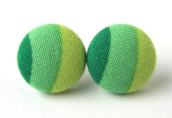 Unique button earrings studs green lime yellow stripe bright