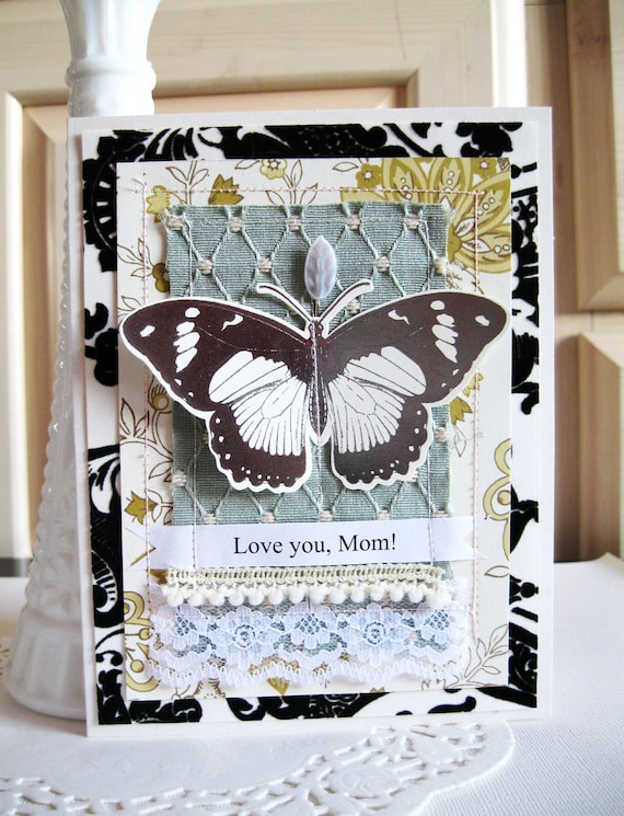 Mother's Day Card. Love You Mom. Shabby Chic. One of a kind card.
