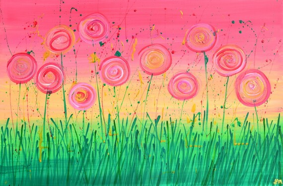 Pink Flower Abstract Metallic Painting