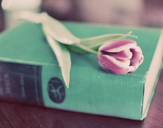 Тюльпан Фотография 8х10 цветов Print - Монетный двор Tulip - мягкая зеленая мята старинные книги розовый весной фото