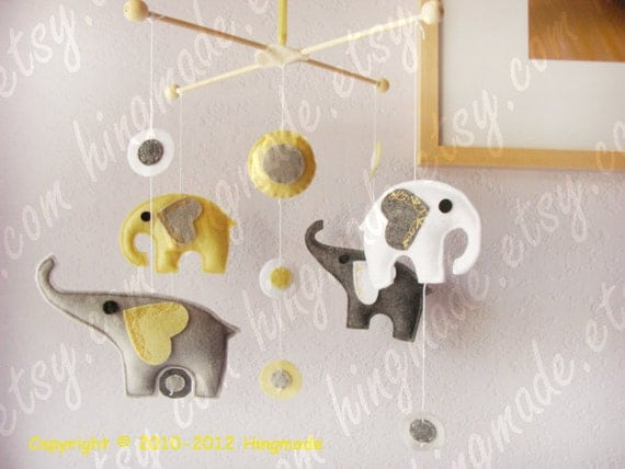 Baby Nursery Mobile - Baby Crib Mobile - Baby Mobile - Polka Dot Grey Powder Yellow White Elephants theme(Custom colors available)