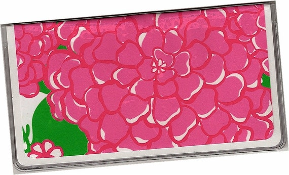 Checkbook Cover  Pink and Green Preppy Floral Mumsie - a cardstock and clear vinyl duplicate check book cover  2