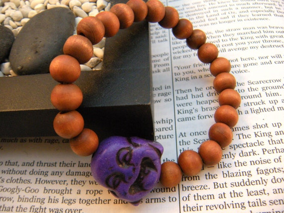 Unisex Stretch Wood Beads Turquoise Stone Buddha Bracelet- Purple