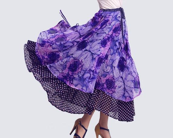 MAXI بنفش خال خال نوعی پارچه ابریشمی گل و لباس دامن (0095)