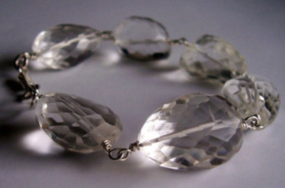 Rock crystal quartz and sterling silver chunky bracelet