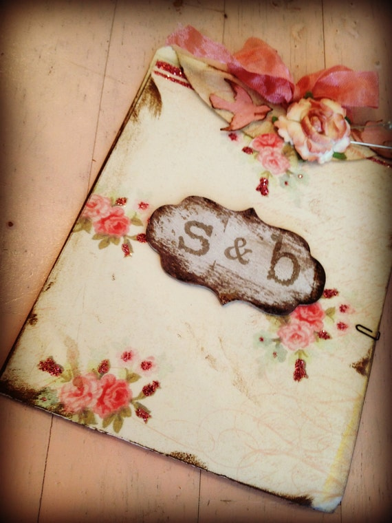 Wedding Invitation Handmade Hand stamped Shabby Chic Country Chic pink rose