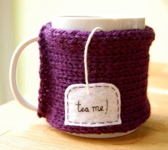 Tea Me Mug Cozy Knitted Purple Chai Cup Cosy
