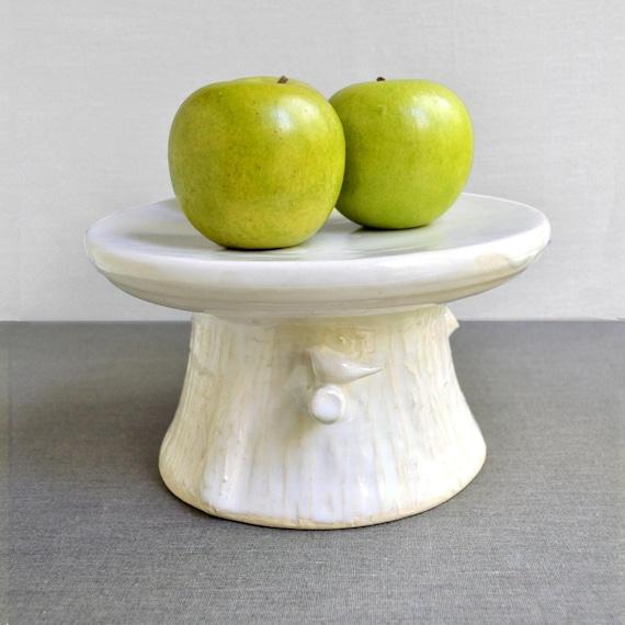Woodland Cake Stand handmade ceramic wedding decor in white