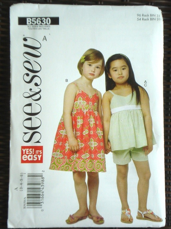 Butterick See  & Sew sewing pattern Children's Girl's  Dress Top Shorts