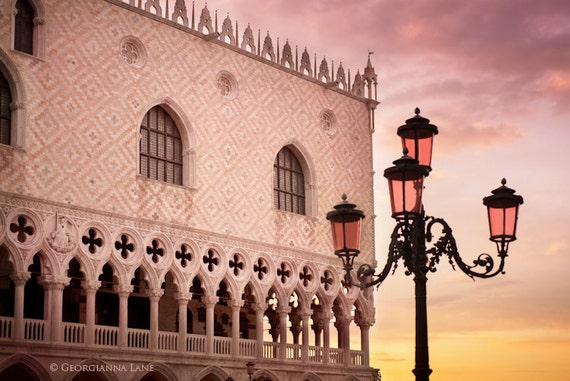 Venice Photo -  Sunrise in Piazza San Marco, Venice, Italy, Lamp Post, Home Decor, Travel Photo, Wall Art