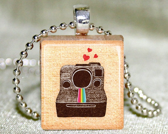 Scrabble Tile Jewelry - Scrabble Tile Necklace - Polaroid Camera Scrabble Tile Pendant with Necklace and Matching Gift Tin
