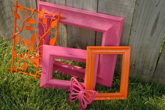 Pink and orange shabby chic upcycled gallery frames with cast iron candle holder and pink butterfly retro home decor