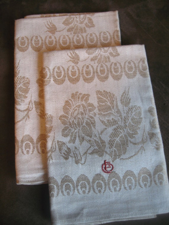 Almond Damask Vintage Tea Towels