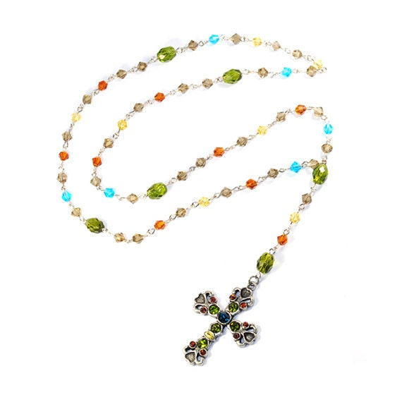 High Fashion Rosary COuTuRE - Swarovski Crystals Rosary Jewelry Necklace by CHIC Bean - Stunning, Gorgeous, Couture and High Fashion