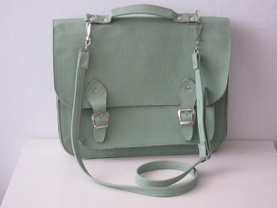 25% off, 3 Treasury Lists, Magnificent Mint, Green Leather Satchel, Silver Buckles,Net Book, I-pad, Kindle Carrier