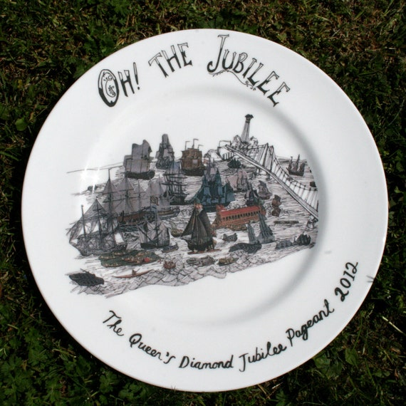 Diamond Jubilee Alternative Commemorative Plate - Oh the Jubilee Flotilla Plate