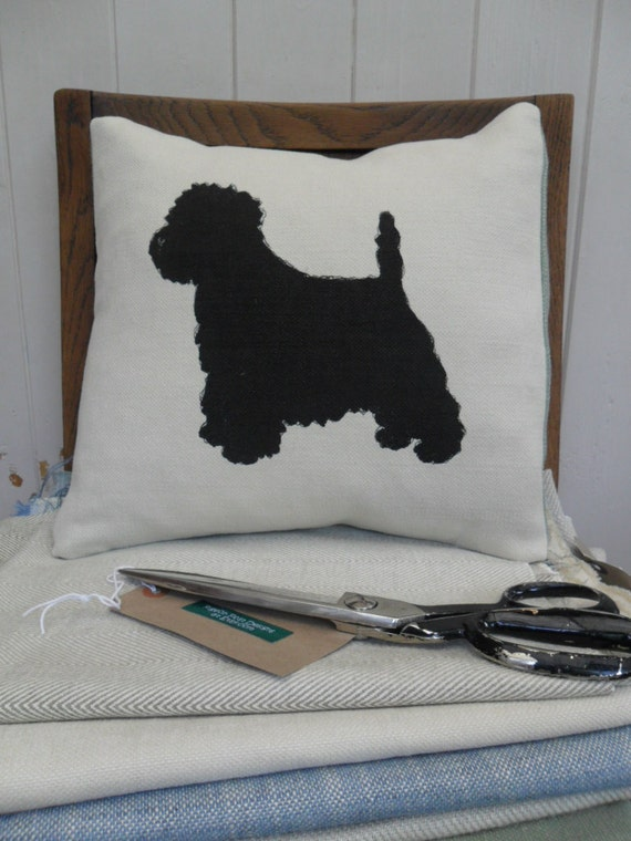 Hand printed Westie cream cushion.