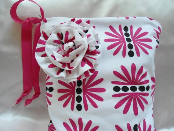 """Large Wet Bag, Designer Hot Pink Fabric, 13"""" x 16"""", Babies and Toddlers,"""