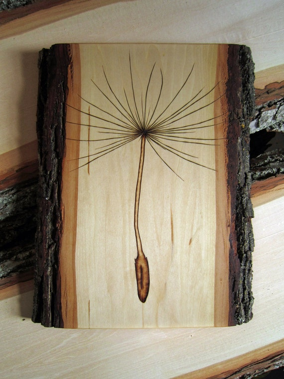 Dandelion seed wall decor - Country home dandelion seed artwork - log cabin style rustic decor