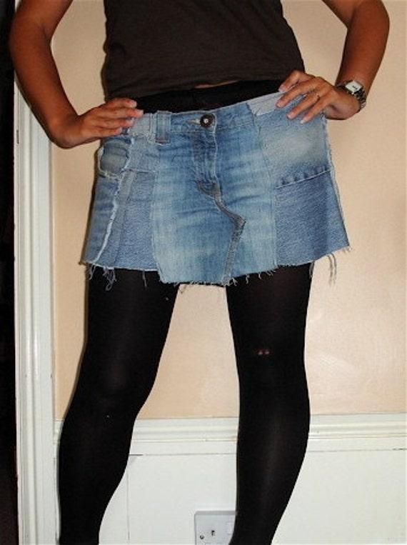 Upcycled جین می خواهم نوپرست دامن حجم / م