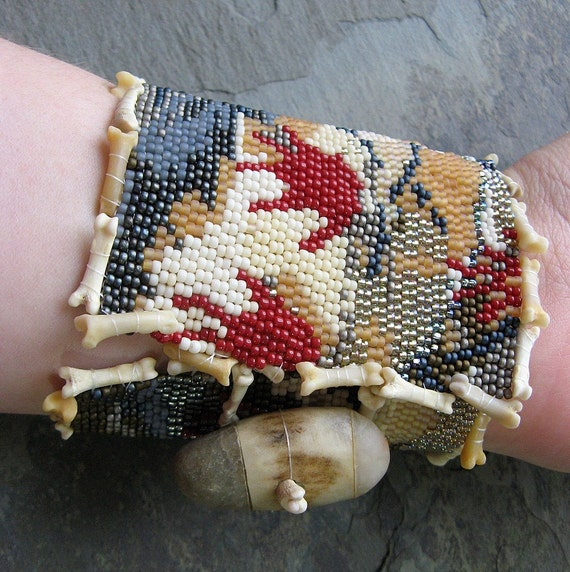 hands against time beadwoven cuff