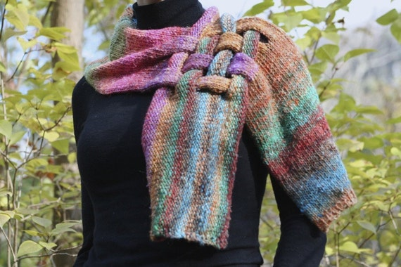 Unique Silk and Kid Mohair Neck Piece Scarf in Green, Pink, Blue, Purple and Orange Noro Yarn  FREE SHIPPING