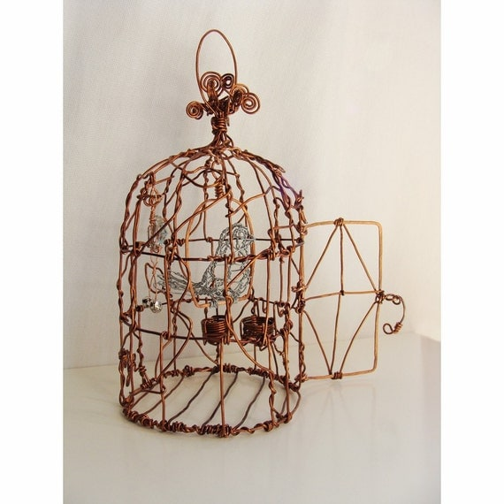 Bird in a Cage  -  Wire Sculpture