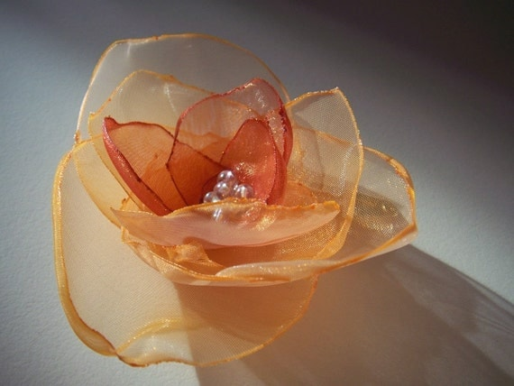 SALE . Orange Organza Hair Flower pin