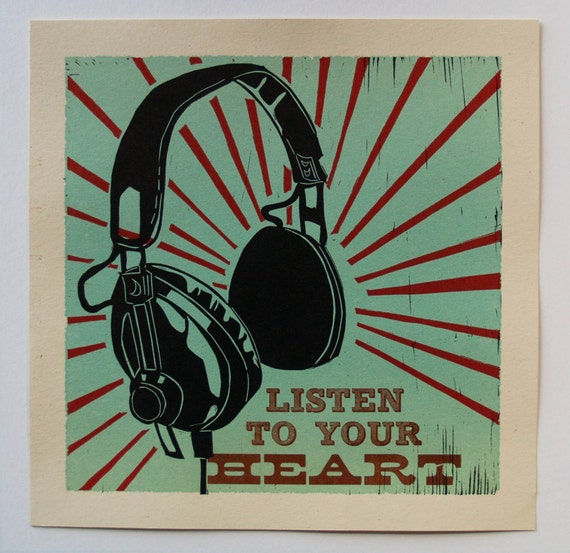 Headphones Letterpress Art Print