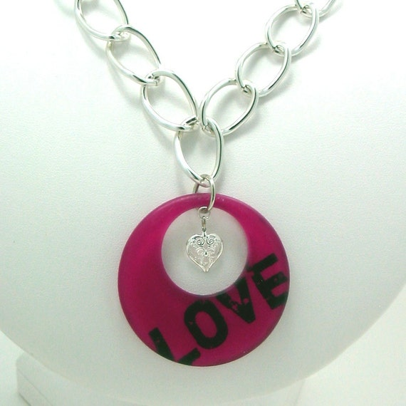 Magenta Pink Go-Go Heart Charm Necklace - Love N Luck