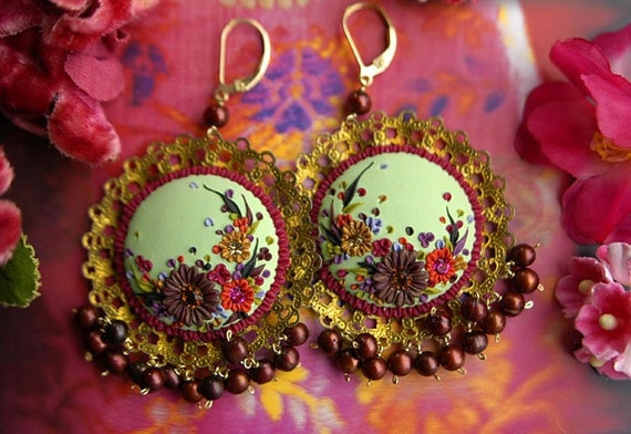 a girl in love with the world - vintage inspired dangle earrings