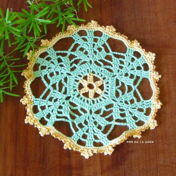Green Leaves Beaded Pair Doilies, COASTERS - Home Decor, Fiber Art, Thread Crochet Lace, Nature, Applique