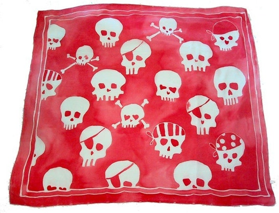 silk scarf  with hand painted skulls - large square - pink