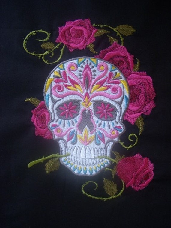 Sugar Skull Tattoo Inspired Embroidered Ring Sling with Matching Zipper