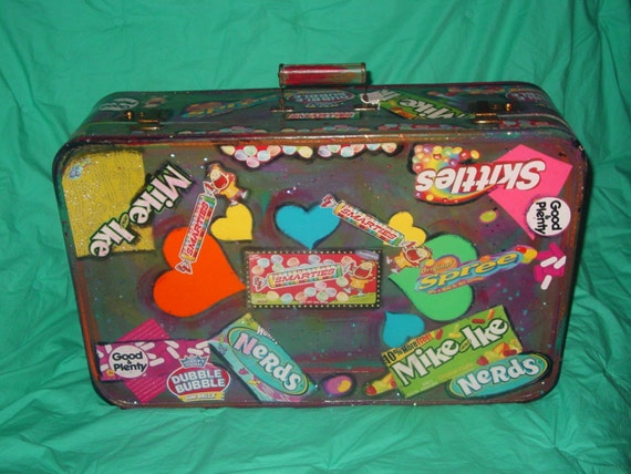 Recyled  large vintage  1940's suitcase withcolorful candy wrappers and handmade papers