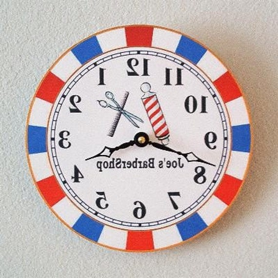 Barbershop Mirror Clock, Backwards Running Clock