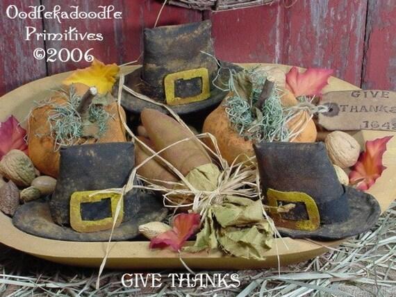 Primitive Pilgrams Hat Corn Pumpkins E-Pattern ET