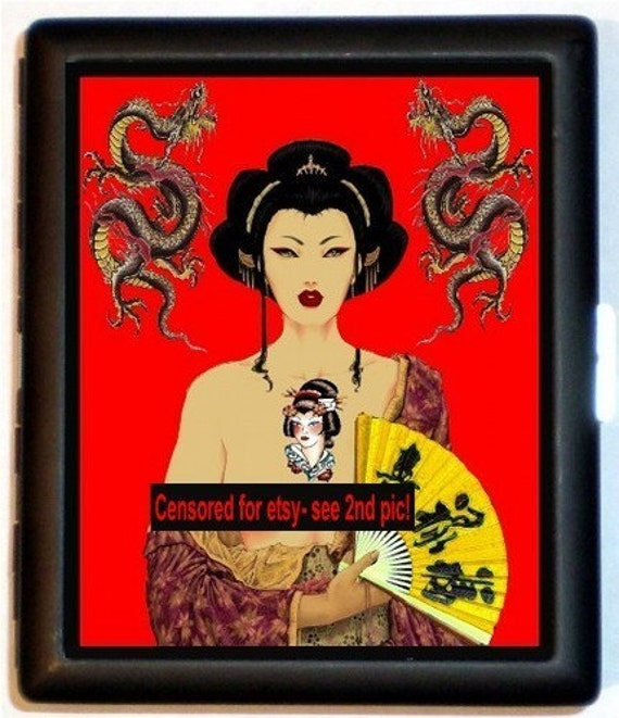 www.viviane.ch/ Viviane Awesome Artwork Red Dragon Tattoo with Pinup Geisha