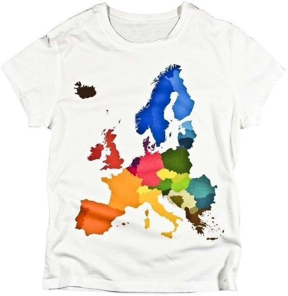 WOMENS European Countries Colorful Geography Map Unique Graphic LADIES T-shirt