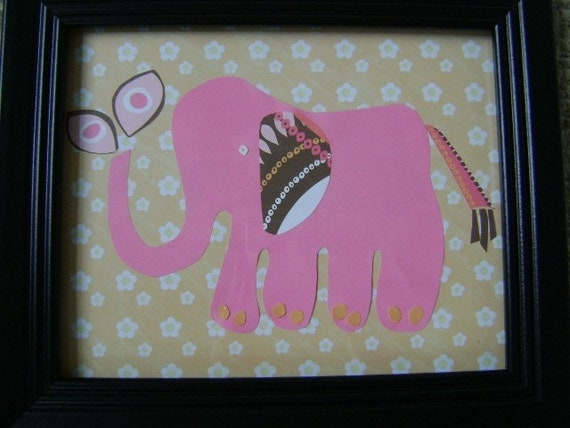 Whimsical Mama Elephant Framed Nursery Art For Babys or Kids Room Affordable