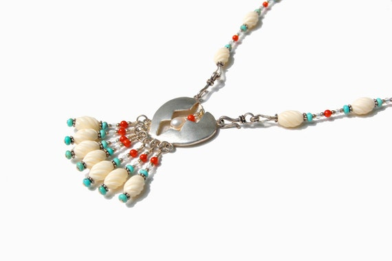 Sterling Casted Hollowform Broken Heart Necklace with Turquoise, Bone, Coral, and Aquamarine