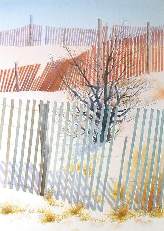 Fences - landscape watercolor