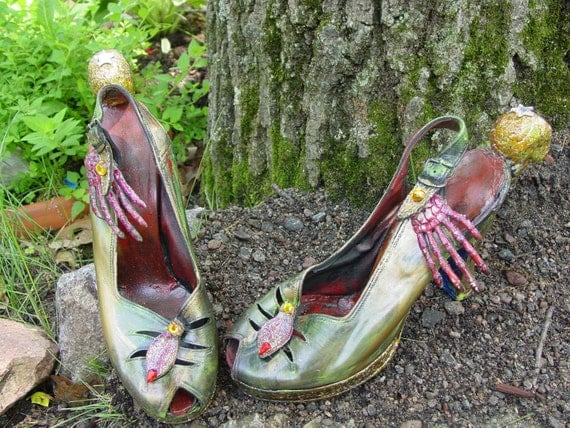 The wonderful WORLD OF OZ shoes series. The wicked witch of the west. recycled shoes by artist Catherine Reinke