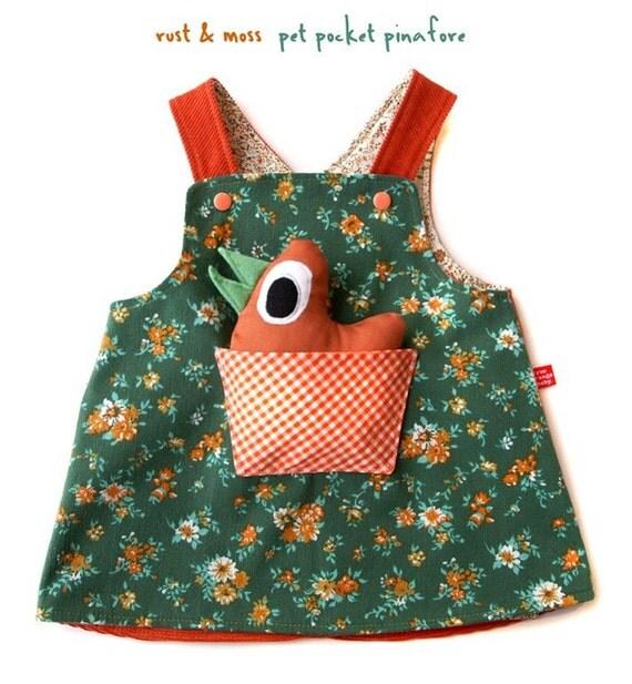Rust and Moss - little girls pet pocket pinafore dress, 3m-4T