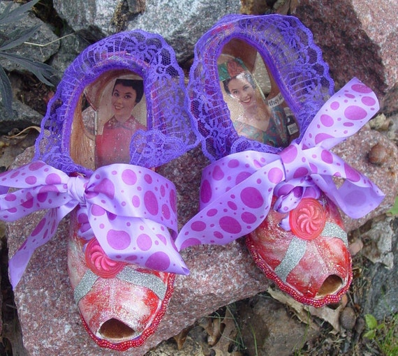Theatrical one of a kind Good witch of the North  wizard of OZ shoes from the 1930's. By recyled artist Catherine Reinke