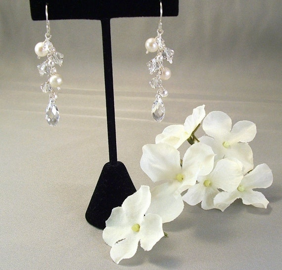 Wedding Cascade Earrings Freshwater Pearls and Clear by Handwired from etsy.com