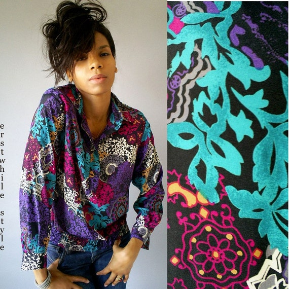 SALE...80s Alfred Dunner Grunge Abstract Top XS S