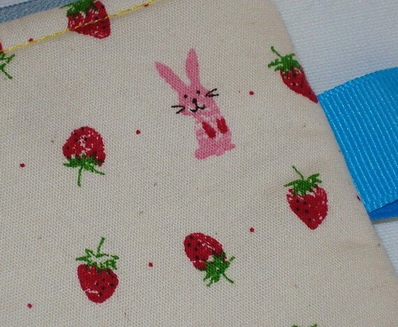 Bunny Hearts Strawberries Zippered Pouch  White by WolfBait